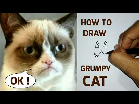 HOW TO DRAW CAT FROM THE WORD GRUMPY