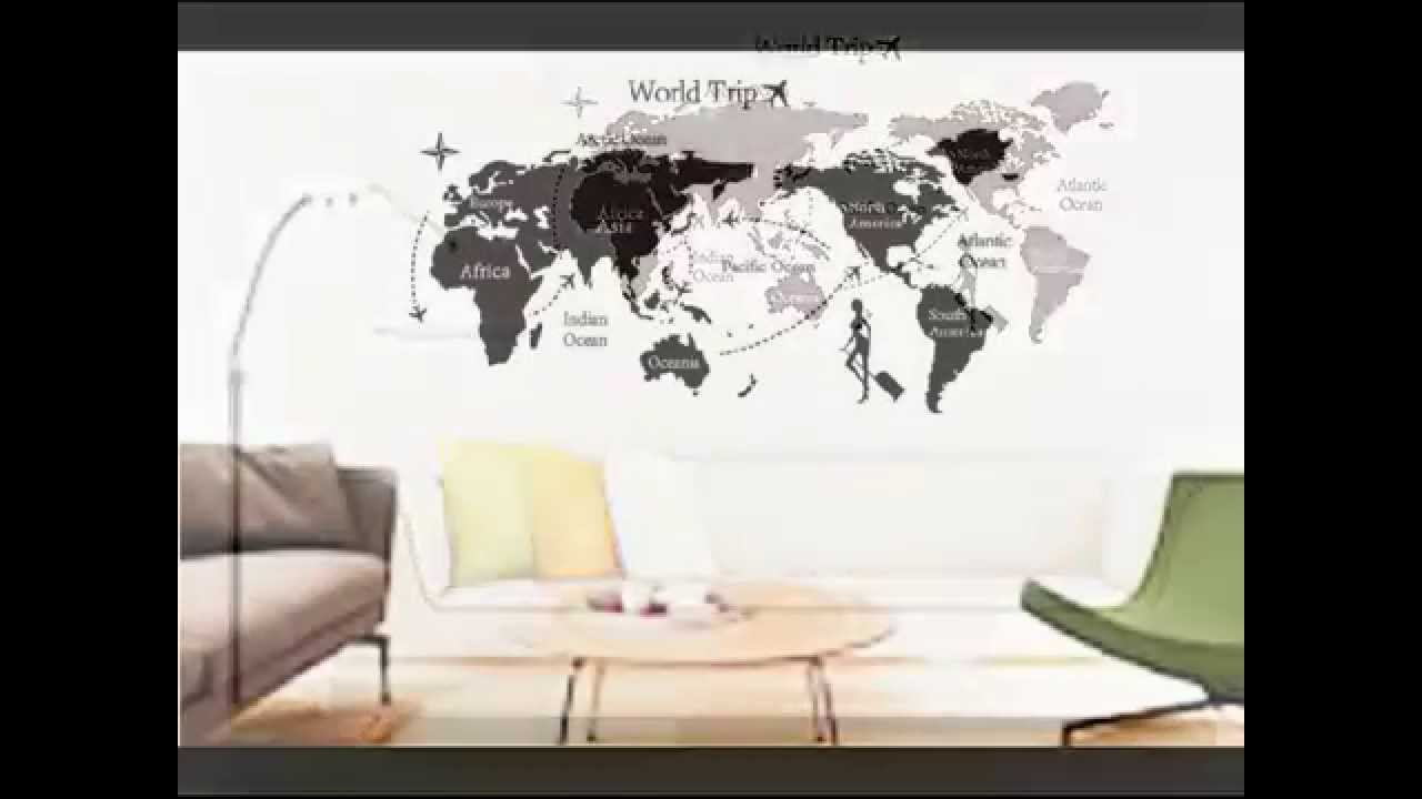 New world trip map removable vinyl quote art wall sticker decal new world trip map removable vinyl quote art wall sticker decal mural decor youtube gumiabroncs Choice Image
