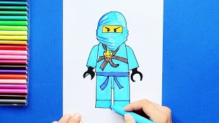 How to draw and color Jay - LEGO Ninjago