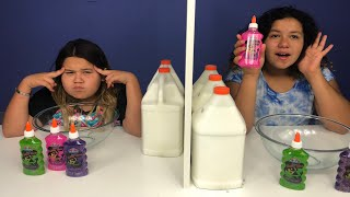 Twin Telepathy Slime Challenge! 3 Colors of Glue Slime Challenge Slime Challenge Edition!