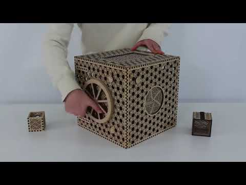 Japanese student graduation project, a traditional wooden puzzle box