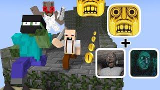 Monster School: TEMPLE RUN VS GRANNY VS GRANDPA Challenge - Minecraft Animation