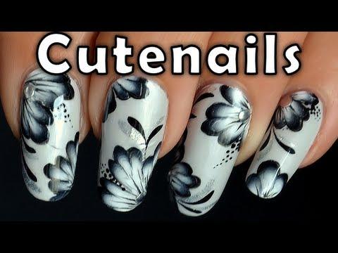One stroke nail art tutorial black and white youtube one stroke nail art tutorial black and white prinsesfo Gallery