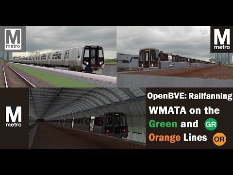 OpenBVE DC Metro: Railfanning WMATA Green And Orange Lines