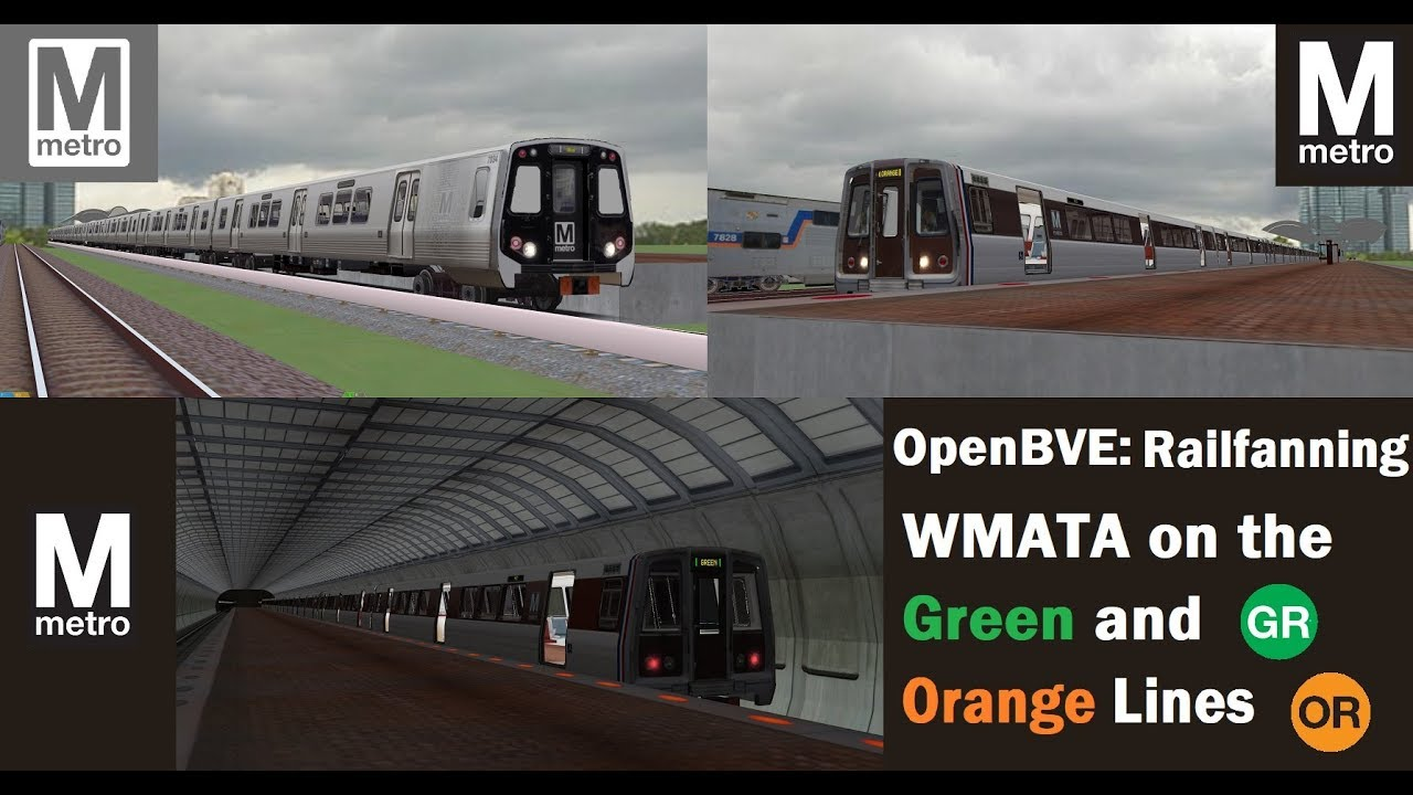 OpenBVE DC Metro: Railfanning WMATA Green and Orange Lines