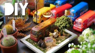 DIY☺︎miniature Bus diorama 100均のおもちゃバスを廃車にしてみた。ジオラマ、木、ゴミ〜etc.の作り方