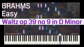 Johannes Brahms - Waltz op 39 no 9 in D Minor | Synthesia Piano Tutorial | Library of Music