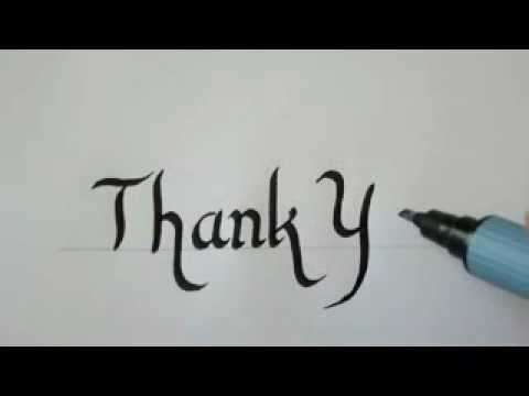 Calligraphy how to write in calligraphy letters thank Thank you in calligraphy writing