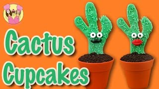 HOW TO MAKE CACTUS CUPCAKES! Cute moustache patty cake by Charli's Crafty Kitchen