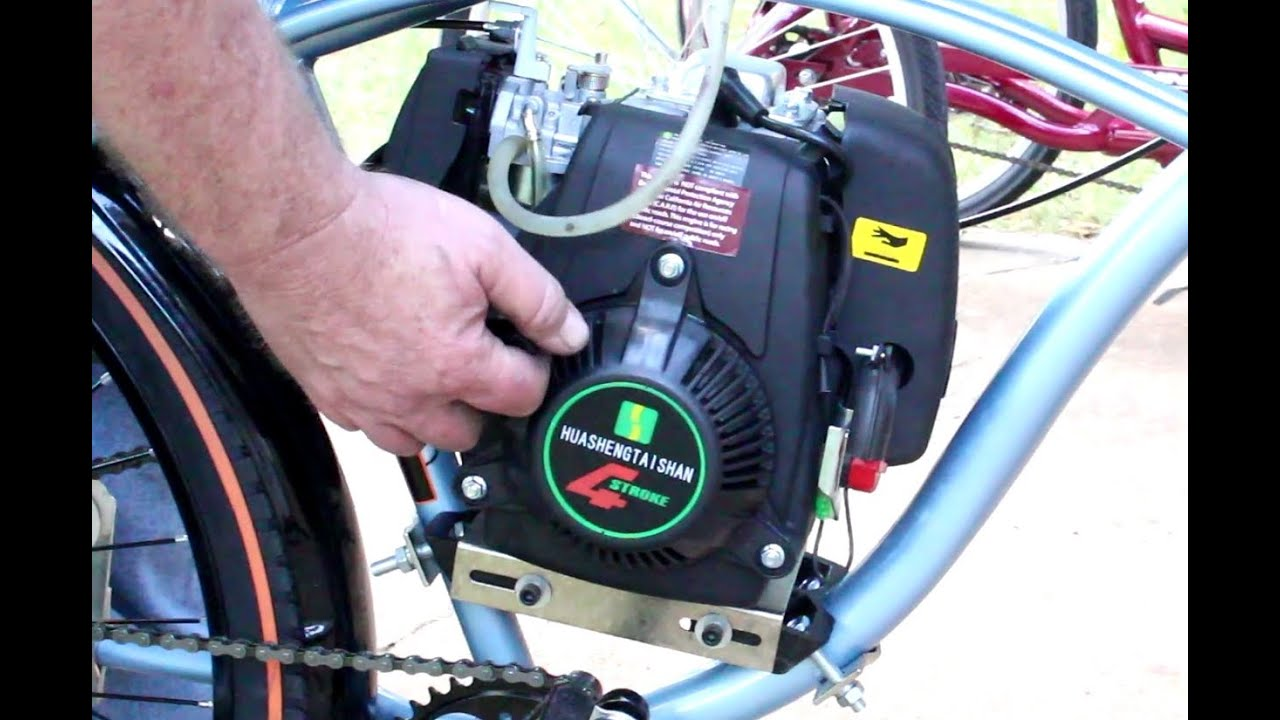 Unboxing 7g 4 stroke motorized bicycle motor kit youtube for How to make an electric bike with a starter motor