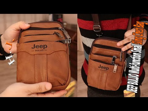 JEEP BULUO Multi function Small Sling Chest Bag  Waist Bag For Man unpack & review
