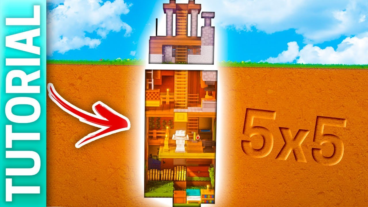 Minecraft casa cueva bajo tierra de 5x5 para survival for Casa moderna 5x5 minecraft