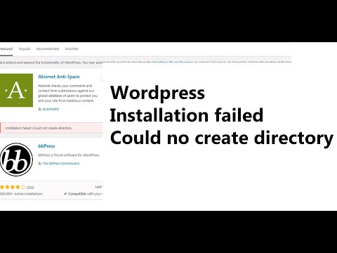 WordPress plugins could not create directory