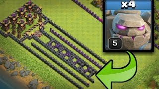 Can 4*Lvl 5 Golems take all those buildings - Troll Base - Clash of Clans