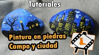 "Stone painting ""Countryside and city"": Tutorial"