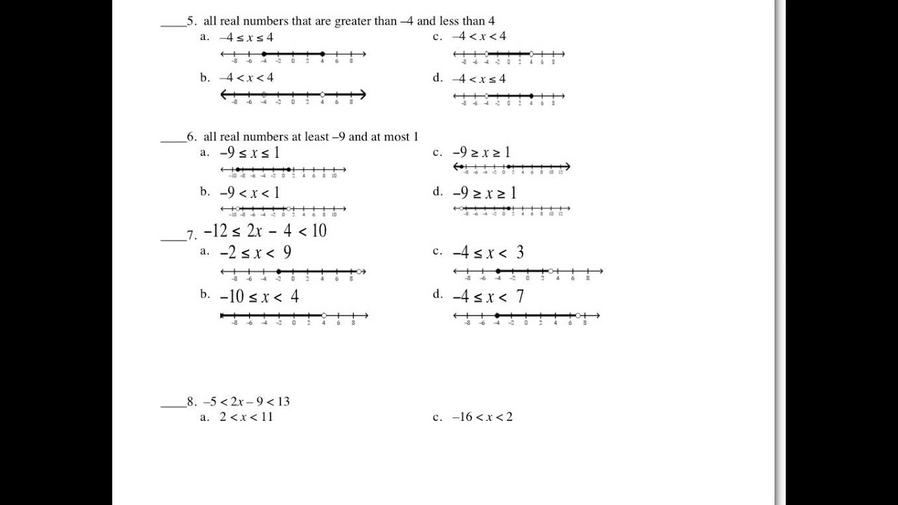 Answers to inequalities worksheet YouTube – Graphing Compound Inequalities Worksheet