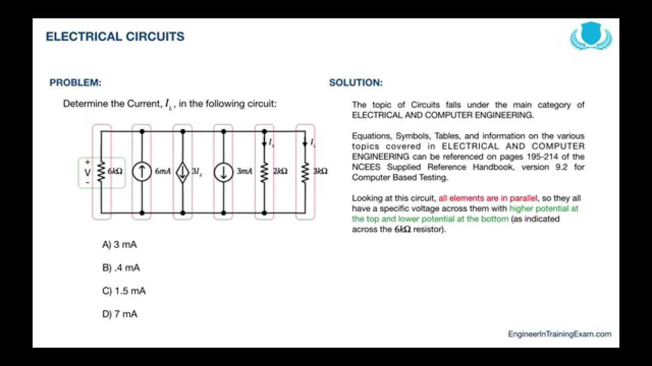fe exam practice problem electrical circuits youtube