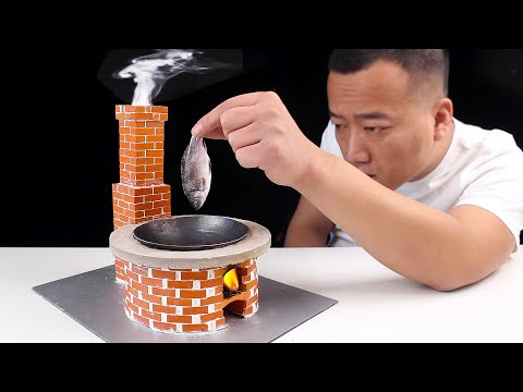 How to make a MINI STOVE with MINIATURE BRICKS and stew super delicious Small fish