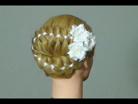 Плетение косы с лентой. 4