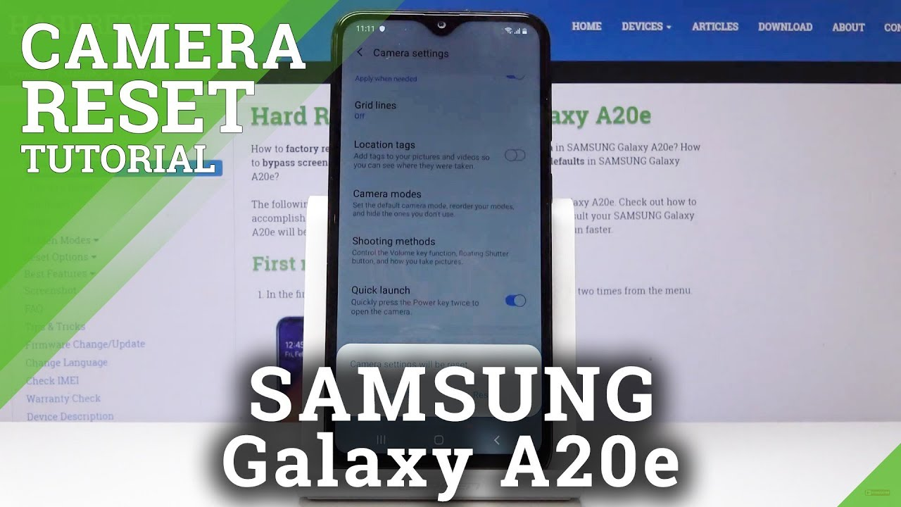 How To Reset Camera In Samsung Galaxy A20e Camera Default
