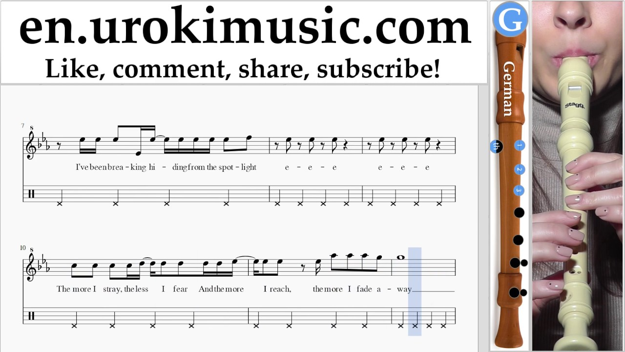 Recorder lessons (G ) Imagine Dragons - Rise Up Sheet Music Tutorial Part#2  um-i352