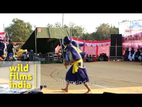 Gatka dance warm-up by young Nihang warriors - Anandpur Sahib, Punjab