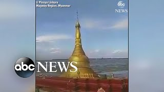 Pagoda sinks after strong storm in Myanmar