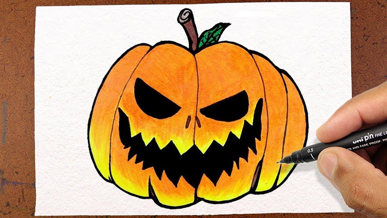 Como Desenhar E Pintar Abobora Halloween Colorindo E