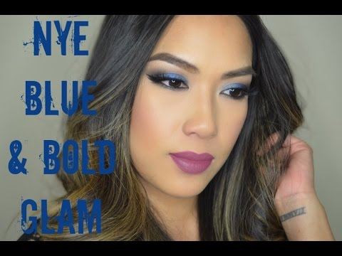 NYE Blue and Bold Glam Makeup Tutorial