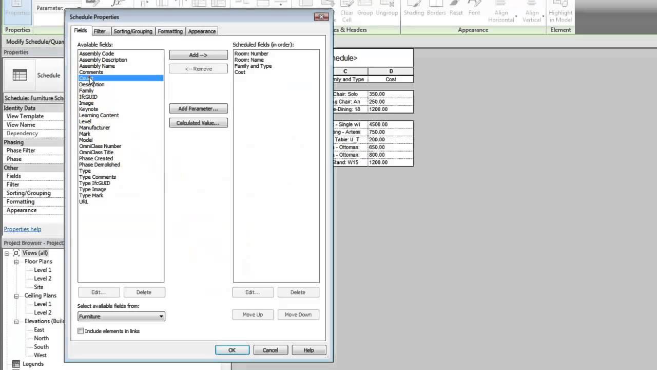 Autodesk Revit: Calculate Totals in a Schedule
