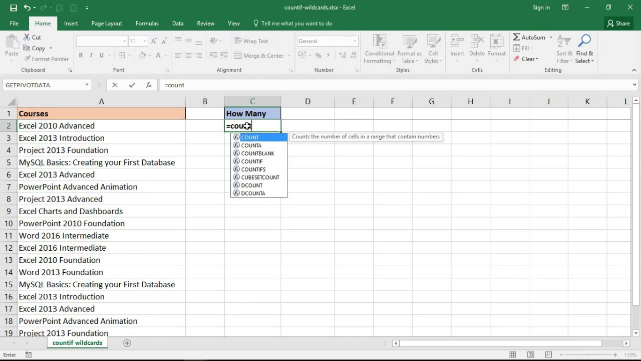 Excel COUNTIF Cell Contains Part Of Text