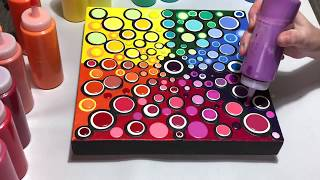 #67 How to make a Blob Painting rainbow colors acrylic pouring