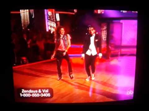 Zendaya and val dancing hiphop DWTS week 9