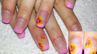 Pink French With One Stroke Flower Nail Art + Testing Free Edge Cutter
