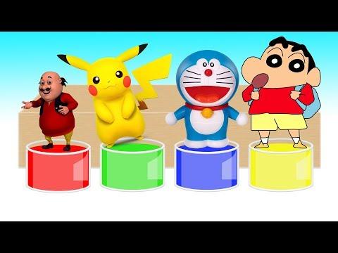 Motu patlu Pokemon Crayon Shin chan Doraemon learn colors for kids