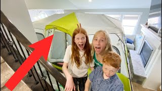 Camping in our Liטing Room! Fun Family Staycation for Spring Break!