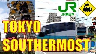 東京最南端踏切 JR東海道本線、京浜東北線Railway crossing JR Tokaido line(Tokyo japan)