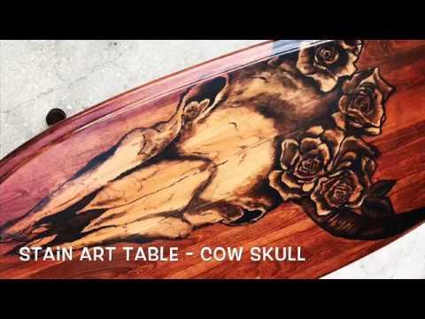 Wood Stain Art - Cow Skull Head - by Karen Governale