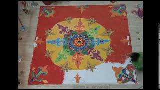 Creating Indian Rangoli Floor Painting