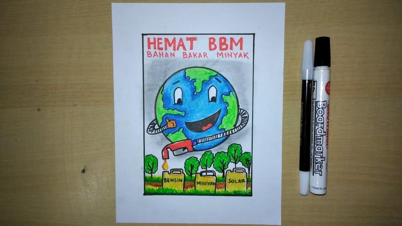 Cara Membuat Poster Hemat Energi, Hemat BBM (how to draw a ...