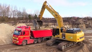 New Komatsu PC490-10 Excavator Loading Volvo And Great Sounding Scania V8 Trucks