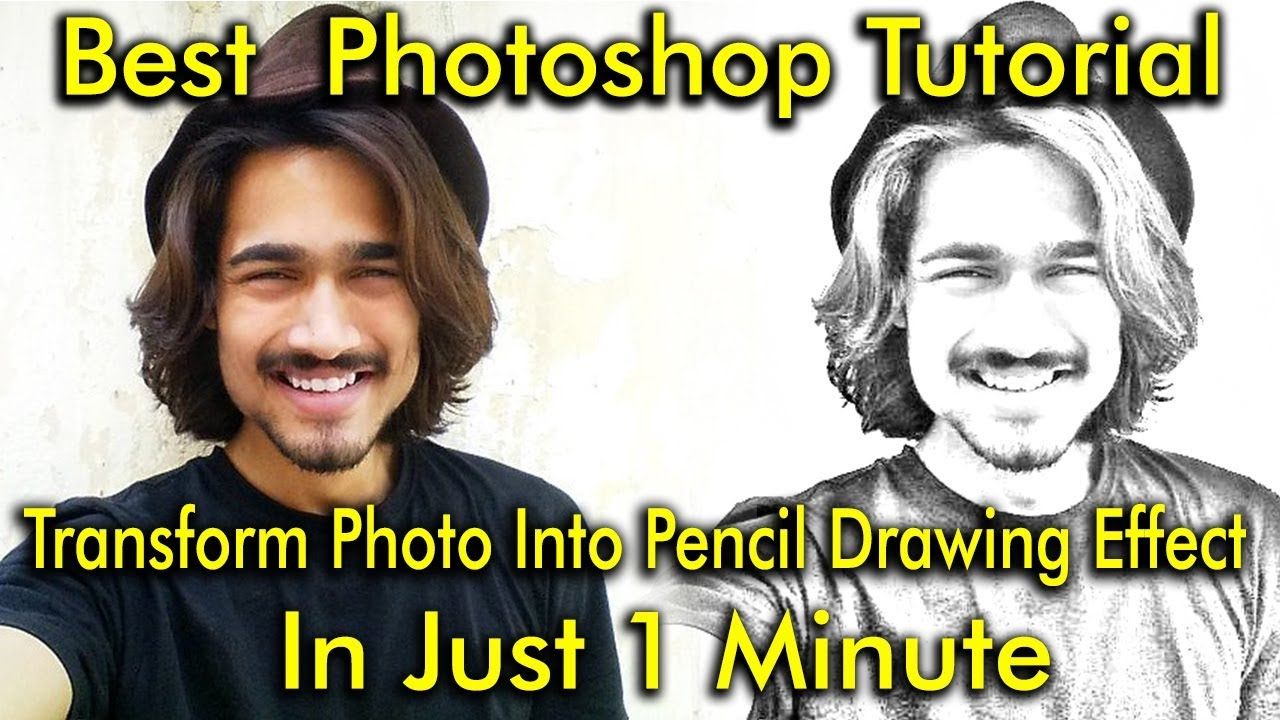 Photoshop tutorial pencil drawing effect pencil sketch effect in few clicks tutorial being artist