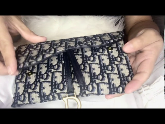 Christian Dior Unboxing Saddle Long Wallet Blue Dior Oblique Jacquard Review Youtube