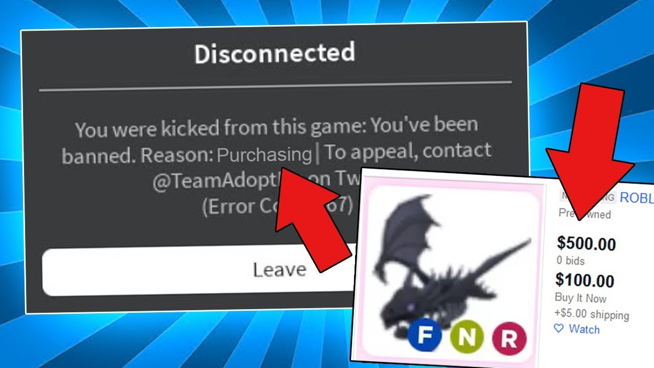 I Got Banned From Adopt Me For Buying Shadow Dragon Youtube