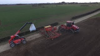 Case Quadtrac 600 Drilling with Vaderstad Rapid A 800 S (Camera & Drone Footage) In UK 2018
