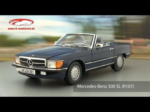 Mercedes 300 SL Cabrio R107 1986 blauschwarz metallic Modellauto 1:18 Norev