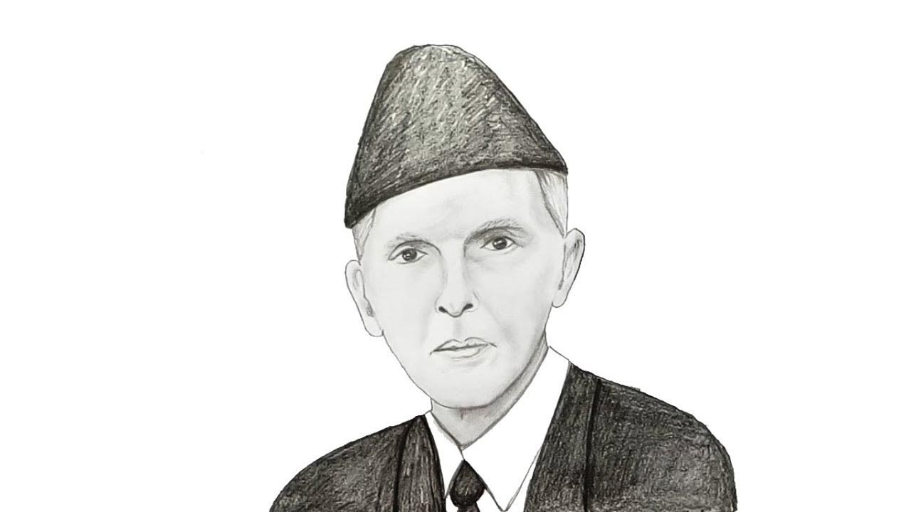 Line Drawing Of Quaid E Azam : How to draw quaid e azam step by youtube