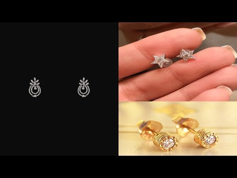 Latest Gold And Diamond Stud Earrings Designs For Kids/Baby Tops/Teenage Girls Stud Earrings Designs