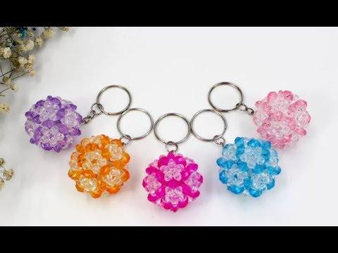 DIY Kawaii Bead Double Colors Ball Keychain  水晶串珠教学 双色球挂饰