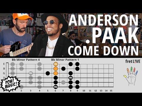 Anderson  - Come Down - GUITAR LESSON - (NPR Tiny Desk)- w/ fretLIVE Tutorial